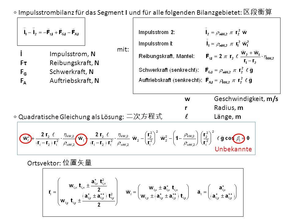 ∘ Impulsstrombilanz für das Segment I und für alle folgenden Bilanzgebietet: 区段衡算