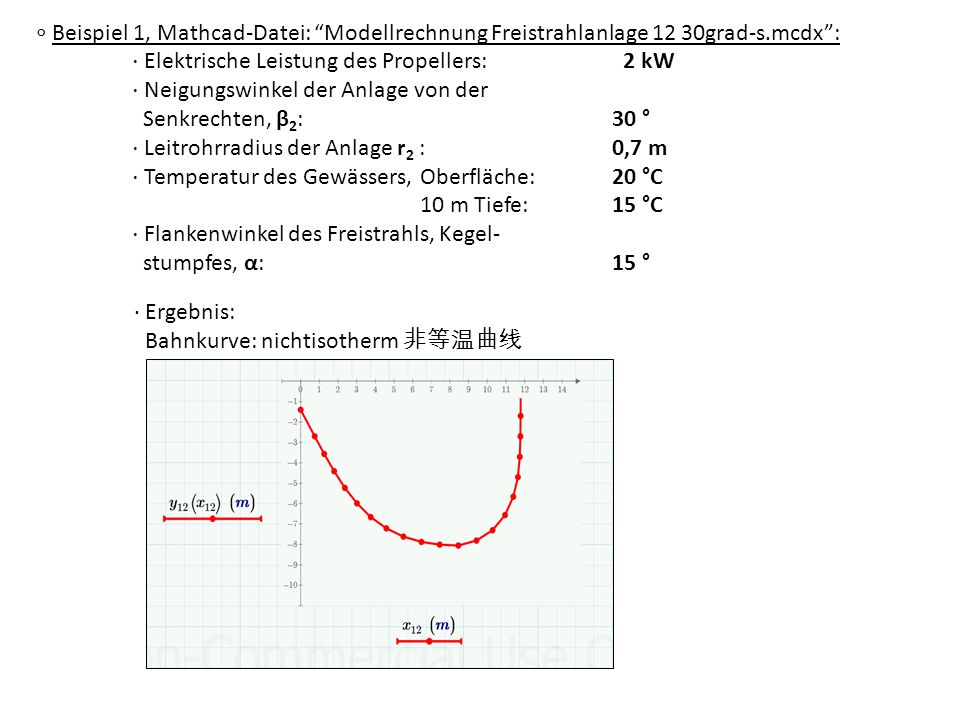 ∘ Beispiel 1, Mathcad-Datei: Modellrechnung Freistrahlanlage 12 30grad-s.mcdx :