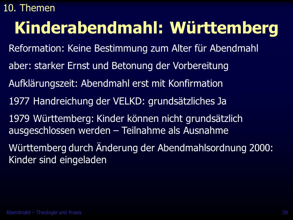 Kinderabendmahl: Württemberg