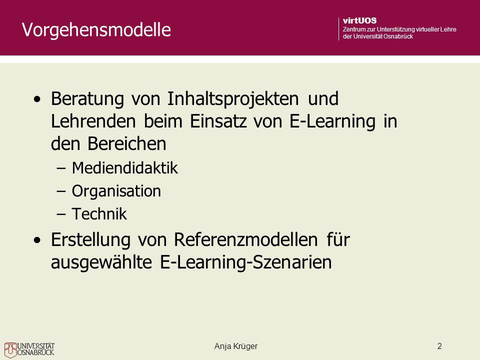 Erstellung von Referenzmodellen für ausgewählte E-Learning-Szenarien