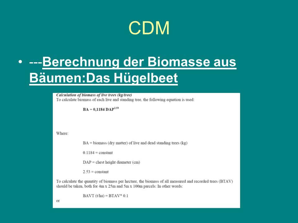 CDM ---Berechnung der Biomasse aus Bäumen:Das Hügelbeet