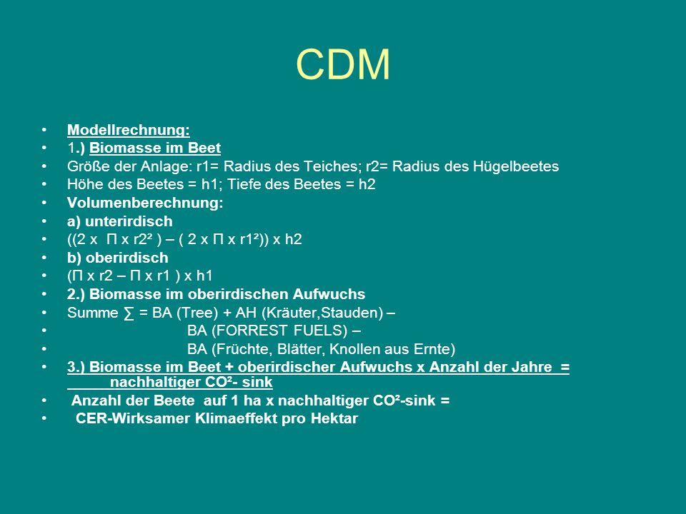 CDM Modellrechnung: 1.) Biomasse im Beet