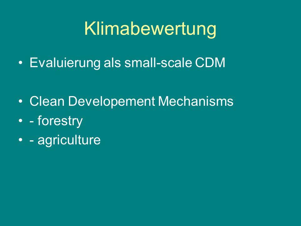 Klimabewertung Evaluierung als small-scale CDM