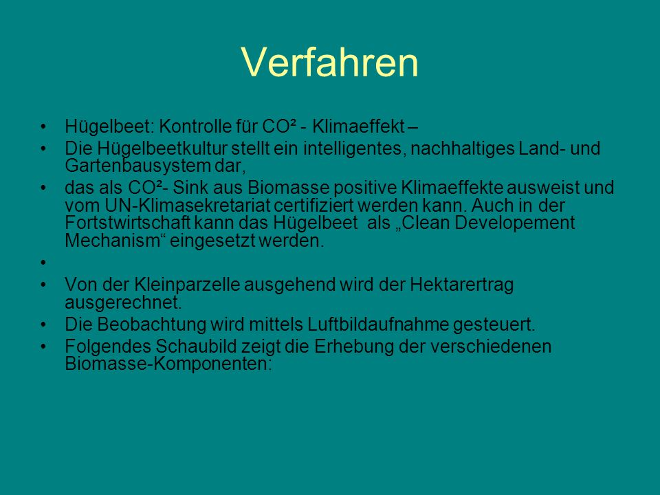 Verfahren Hügelbeet: Kontrolle für CO² - Klimaeffekt –