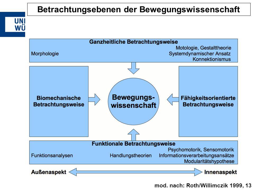 Betrachtungsebenen der Bewegungswissenschaft