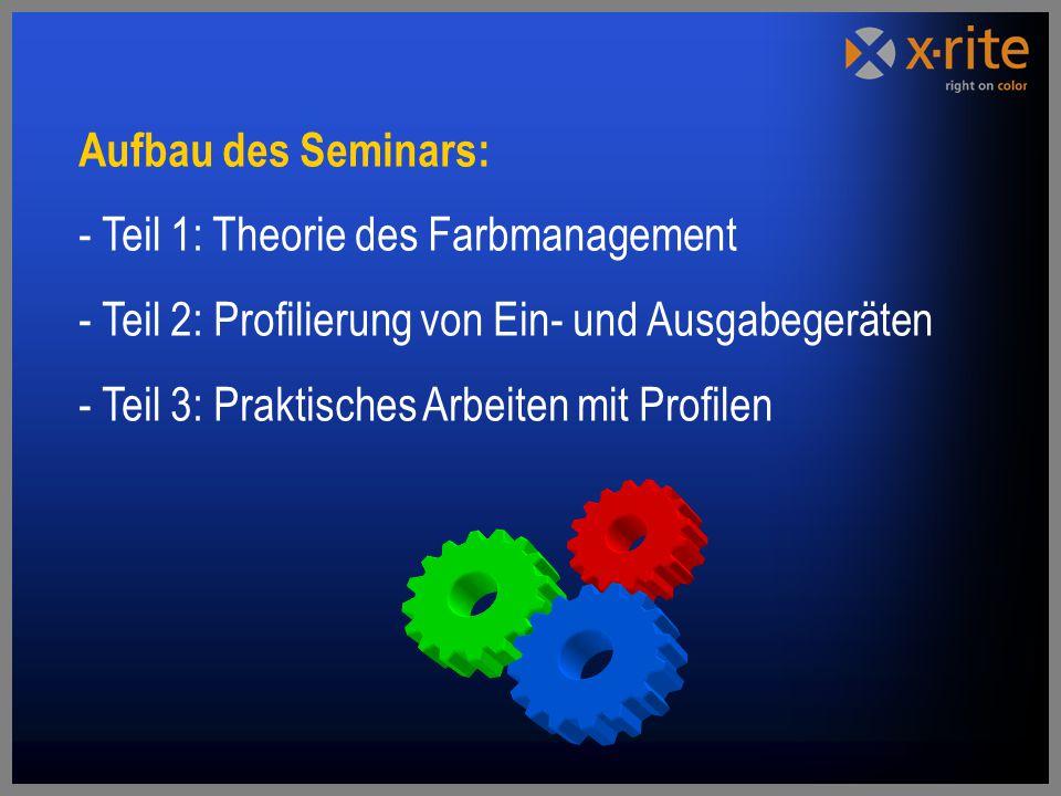 Aufbau des Seminars: - Teil 1: Theorie des Farbmanagement. Teil 2: Profilierung von Ein- und Ausgabegeräten.