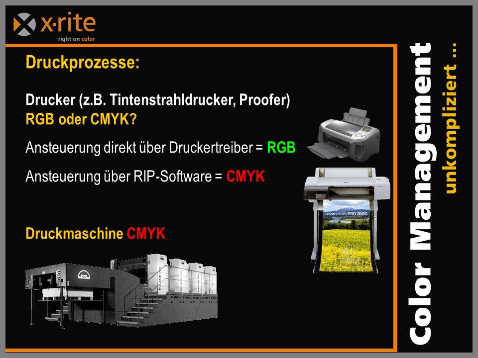 Druckprozesse: Drucker (z.B. Tintenstrahldrucker, Proofer) RGB oder CMYK Ansteuerung direkt über Druckertreiber = RGB.