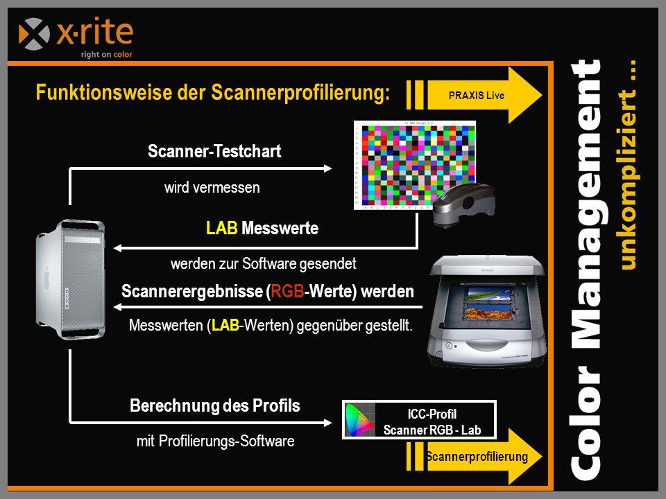 Scannerergebnisse (RGB-Werte) werden Berechnung des Profils