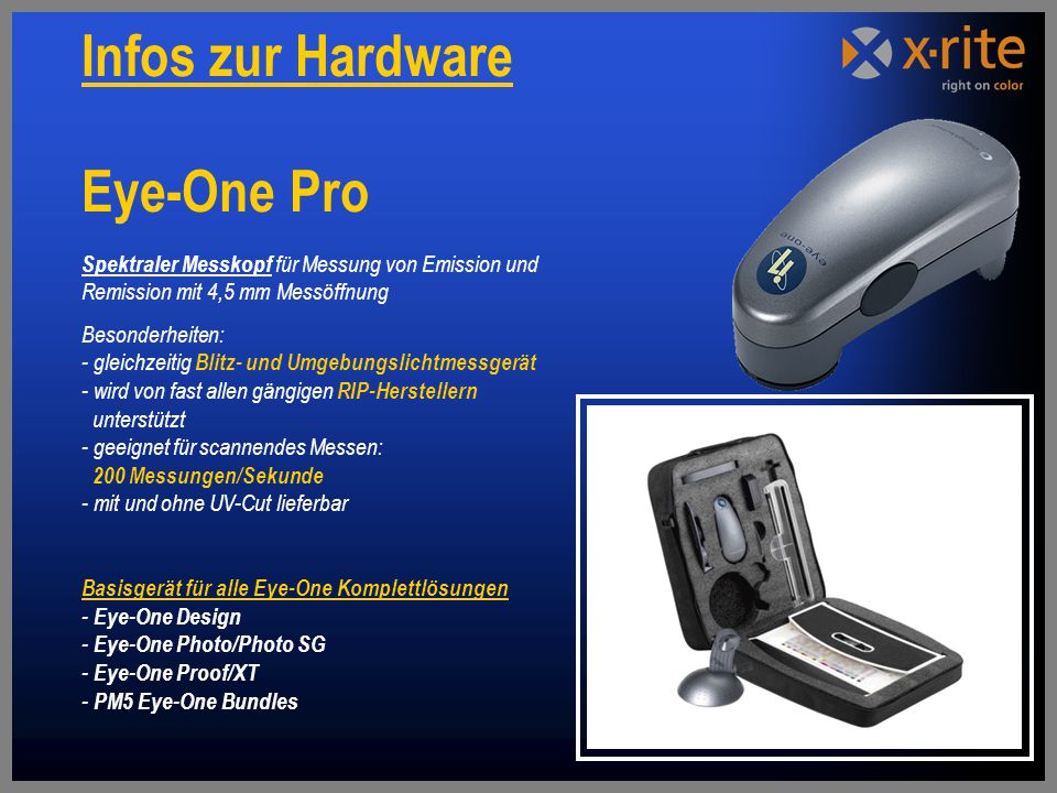 Infos zur Hardware Eye-One Pro