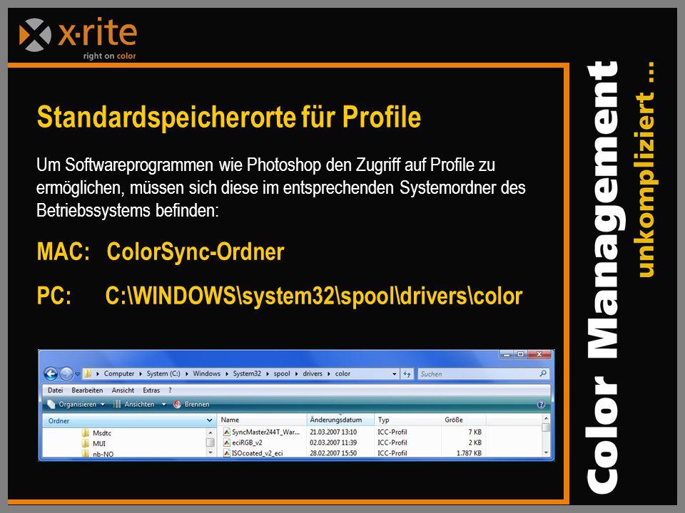 Standardspeicherorte für Profile