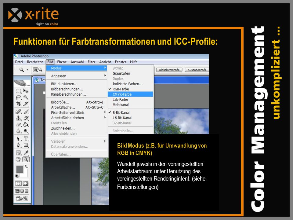 Funktionen für Farbtransformationen und ICC-Profile:
