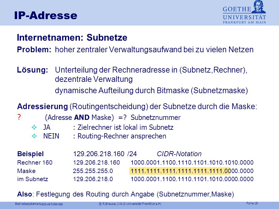 IP-Adresse Internetnamen: Subnetze