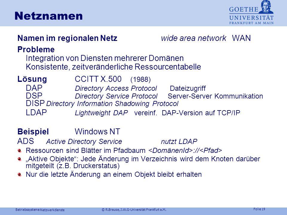 Netznamen Namen im regionalen Netz wide area network WAN Probleme