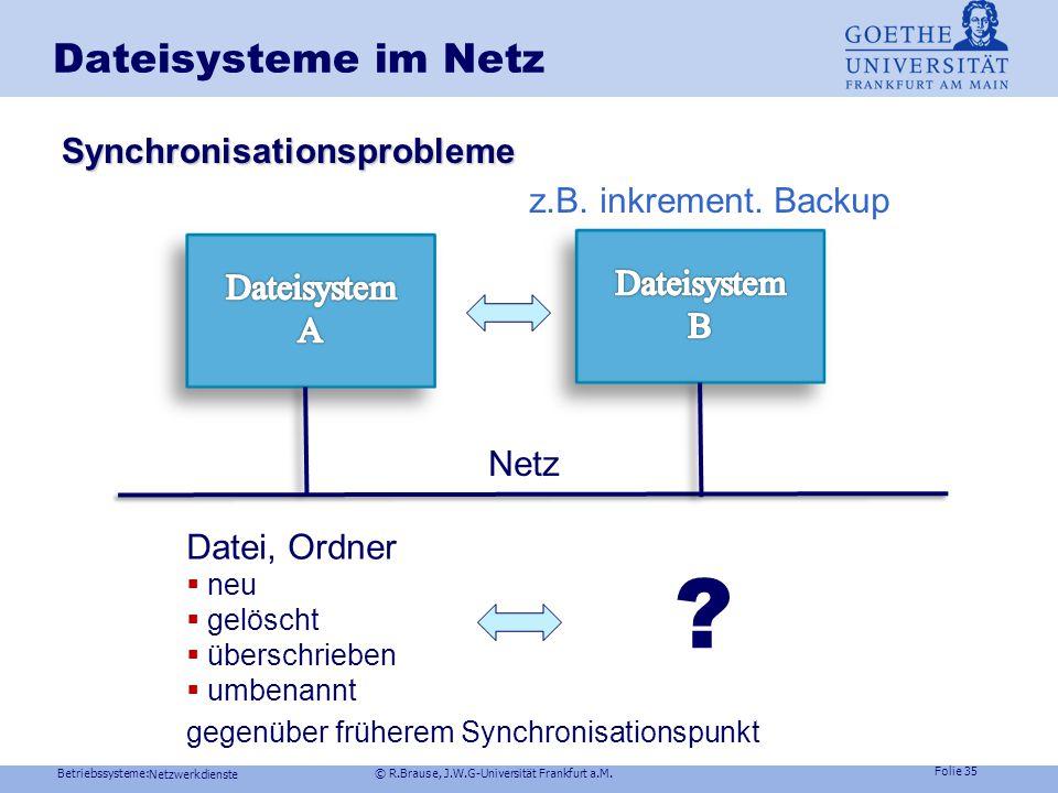 Dateisysteme im Netz Synchronisationsprobleme z.B. inkrement. Backup