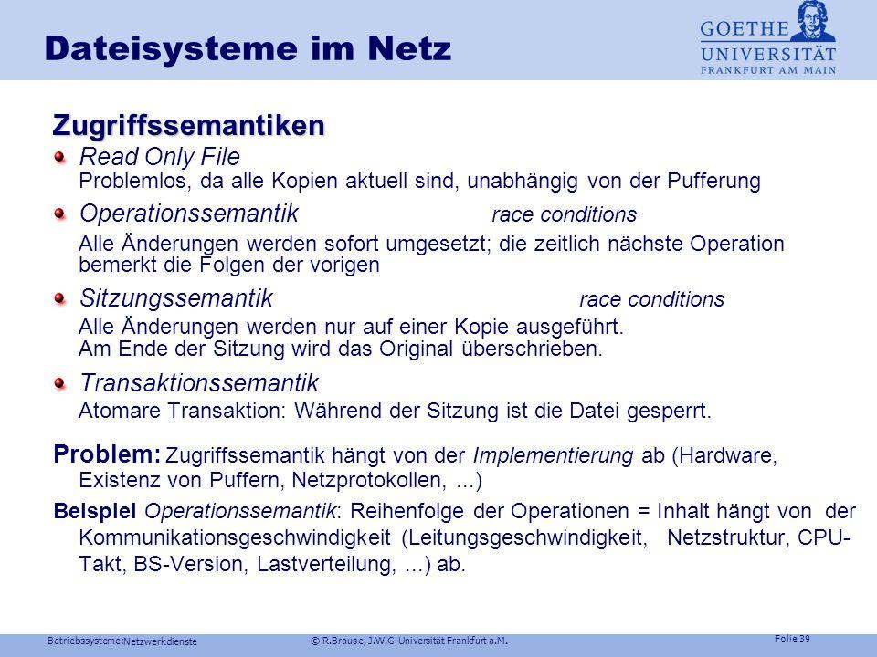 Dateisysteme im Netz Zugriffssemantiken Read Only File