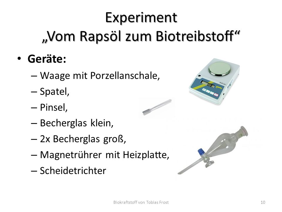 """Experiment """"Vom Rapsöl zum Biotreibstoff"""
