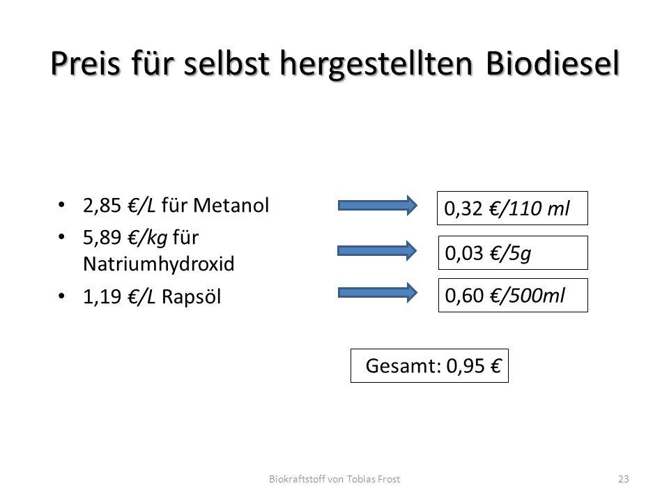 Preis für selbst hergestellten Biodiesel