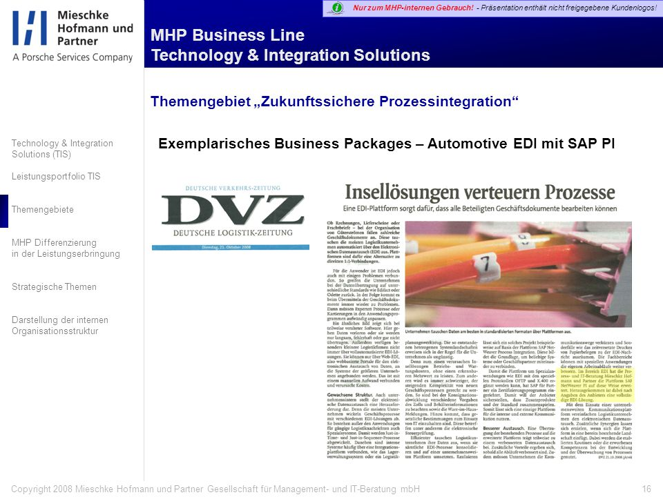 "Themengebiet ""Zukunftssichere Prozessintegration"