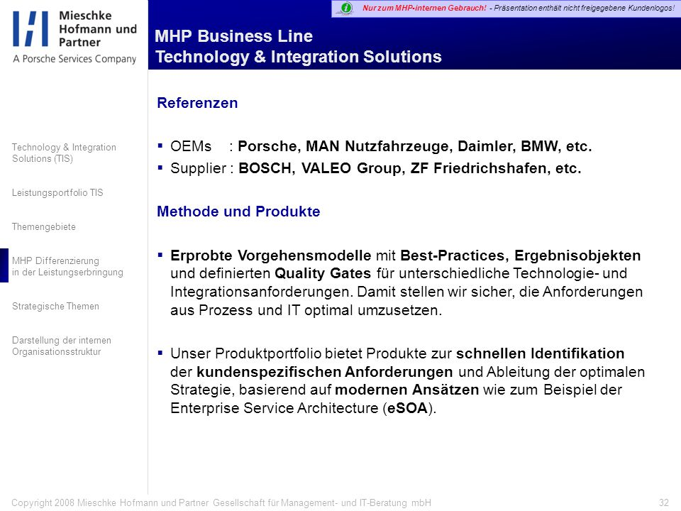 MHP Business Line Technology & Integration Solutions