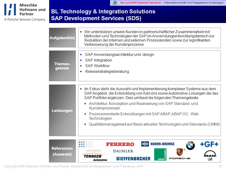 BL Technology & Integration Solutions SAP Development Services (SDS)