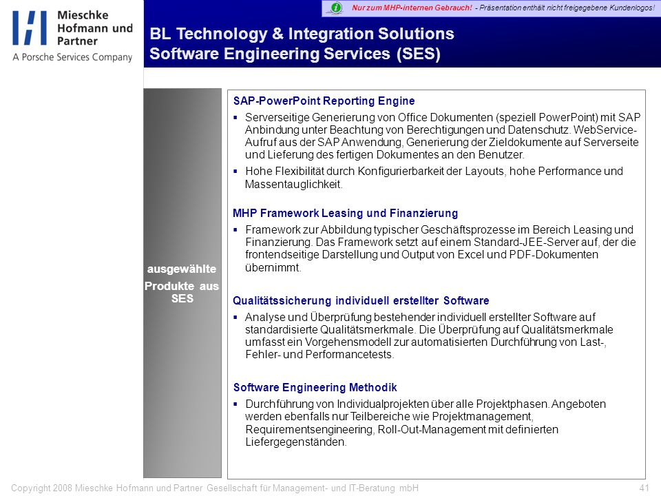 BL Technology & Integration Solutions Software Engineering Services (SES)