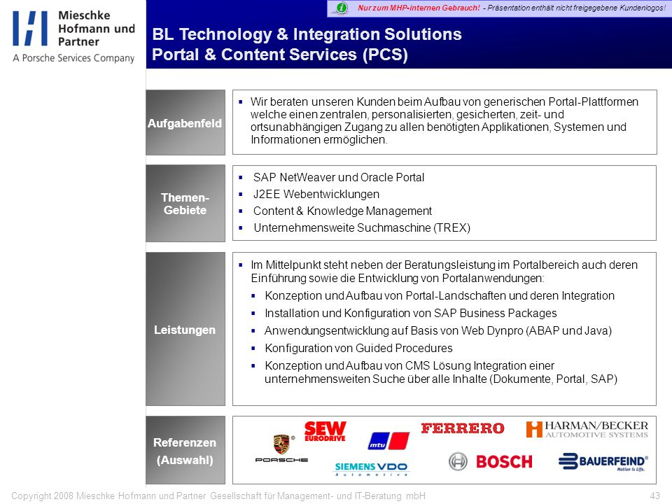 BL Technology & Integration Solutions Portal & Content Services (PCS)