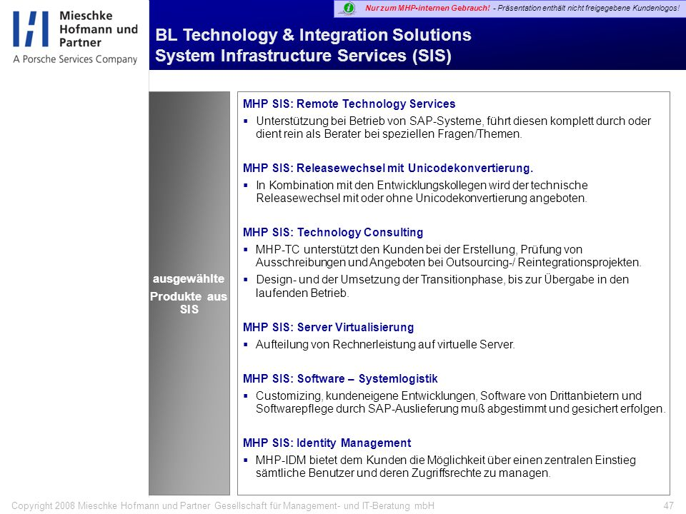 BL Technology & Integration Solutions System Infrastructure Services (SIS)