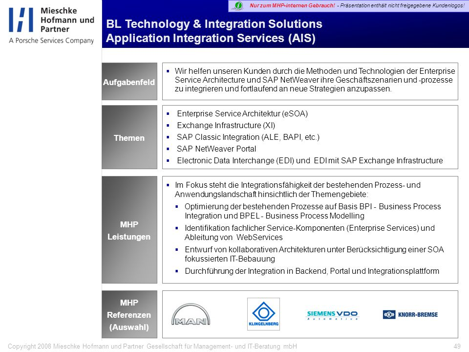 BL Technology & Integration Solutions Application Integration Services (AIS)
