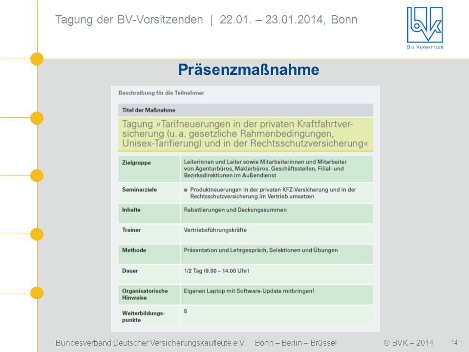 Präsenzmaßnahme Tagung der BV-Vorsitzenden | 22.01. – 23.01.2014, Bonn