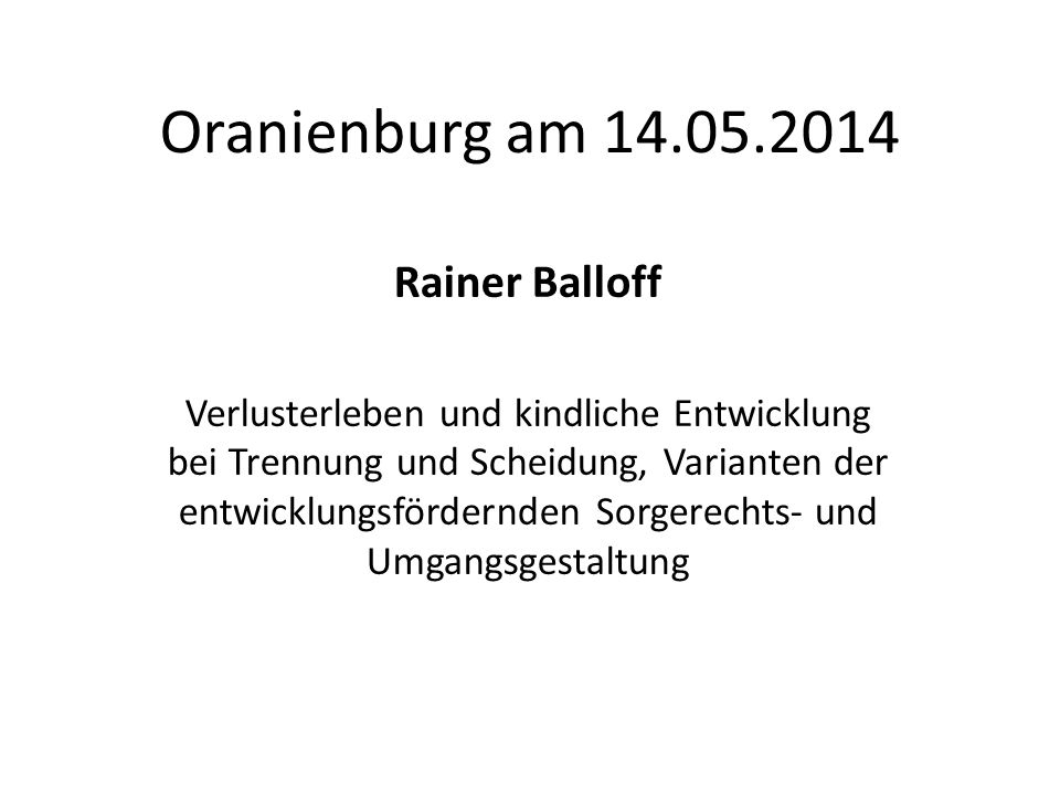 Oranienburg am 14.05.2014 Rainer Balloff