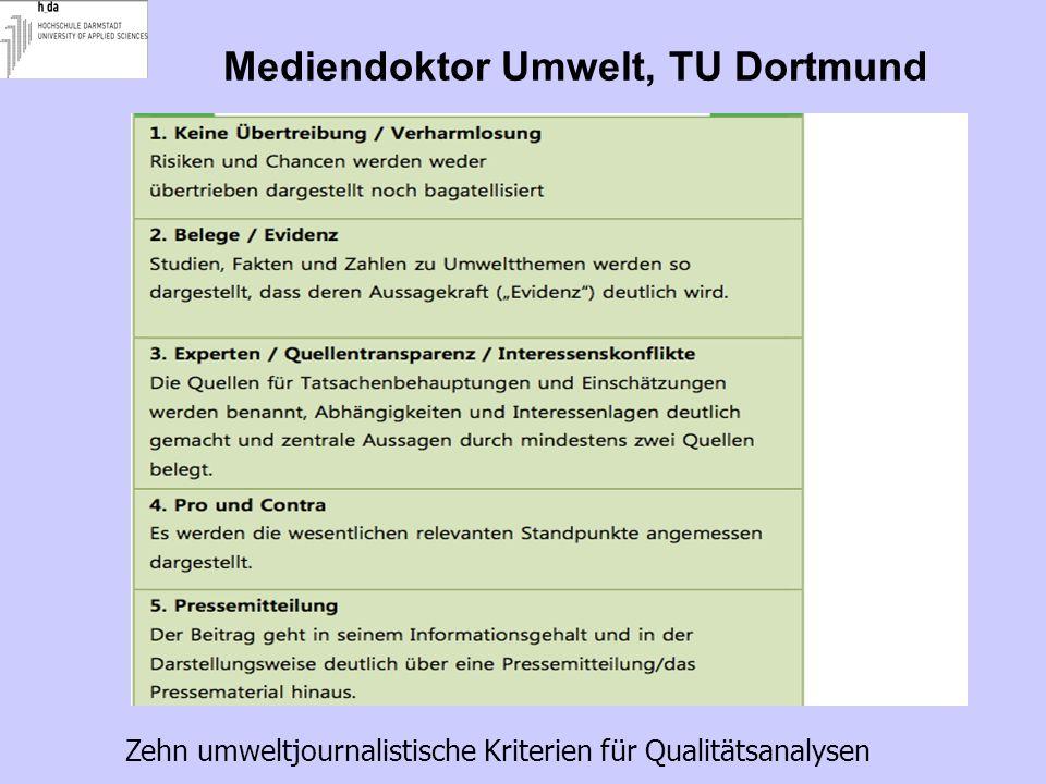 Mediendoktor Umwelt, TU Dortmund