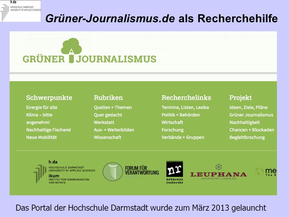 Grüner-Journalismus.de als Recherchehilfe