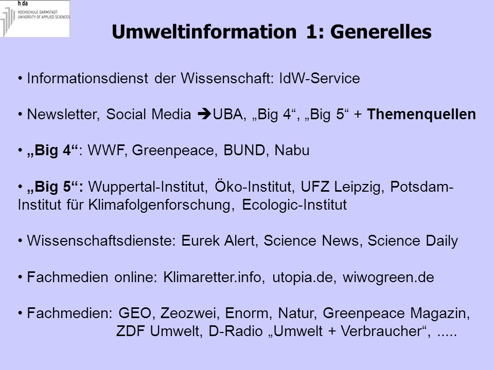 Umweltinformation 1: Generelles