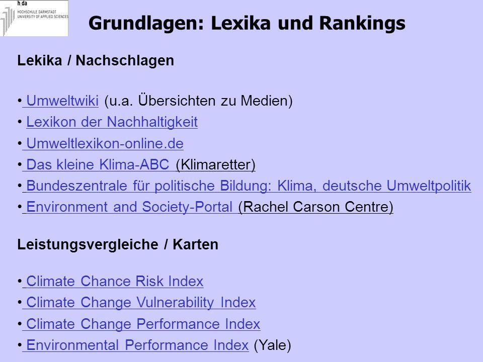 Grundlagen: Lexika und Rankings