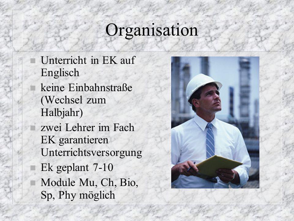 Organisation Unterricht in EK auf Englisch