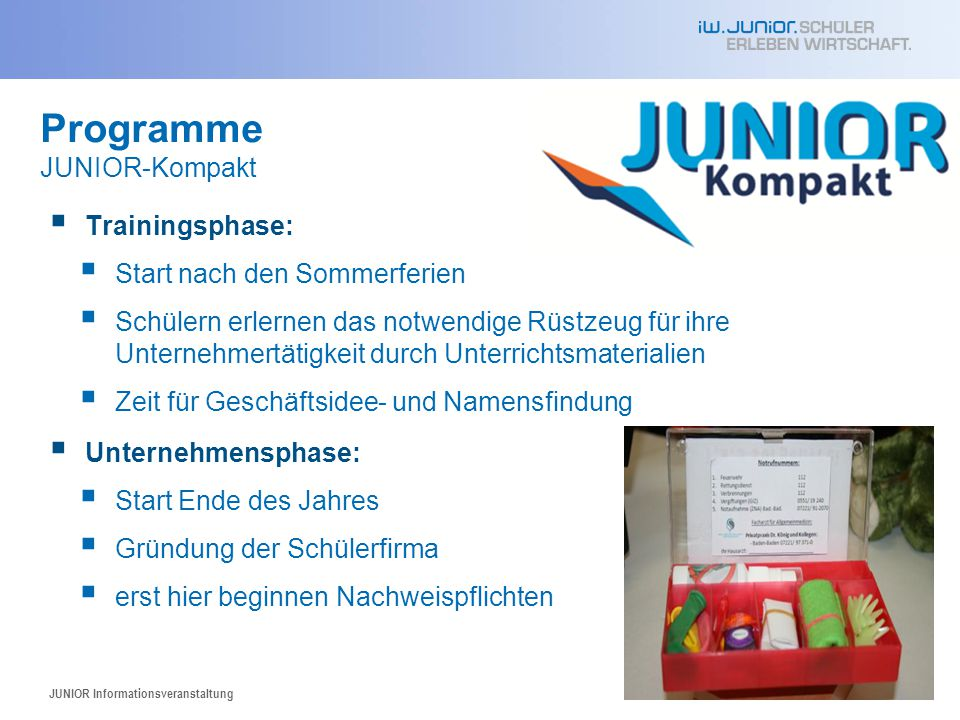 Programme JUNIOR-Kompakt Trainingsphase: Start nach den Sommerferien
