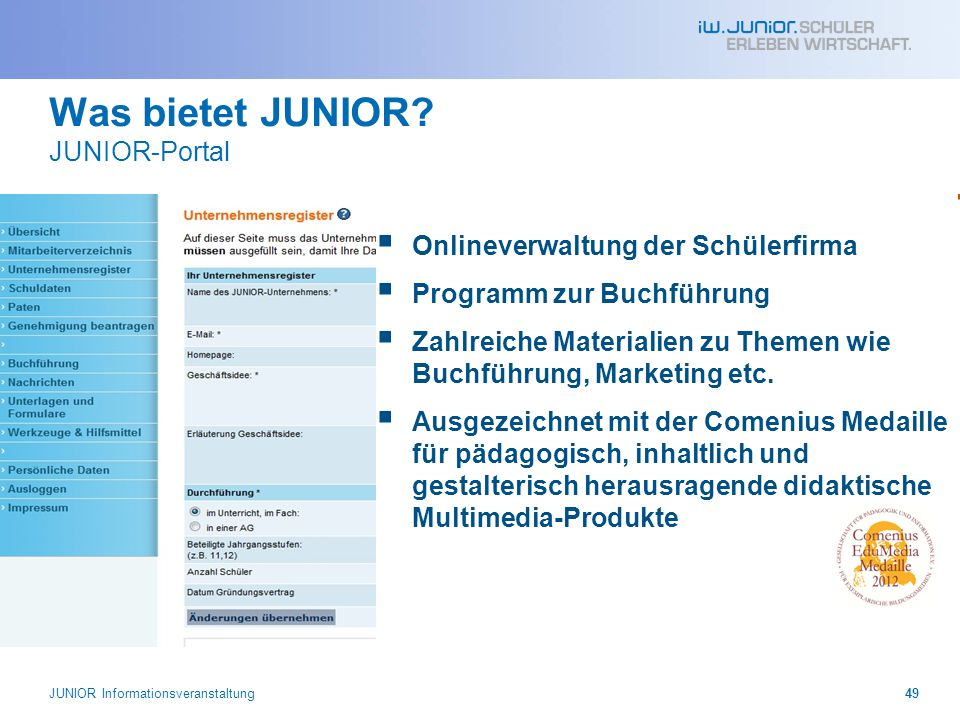 Was bietet JUNIOR JUNIOR-Portal
