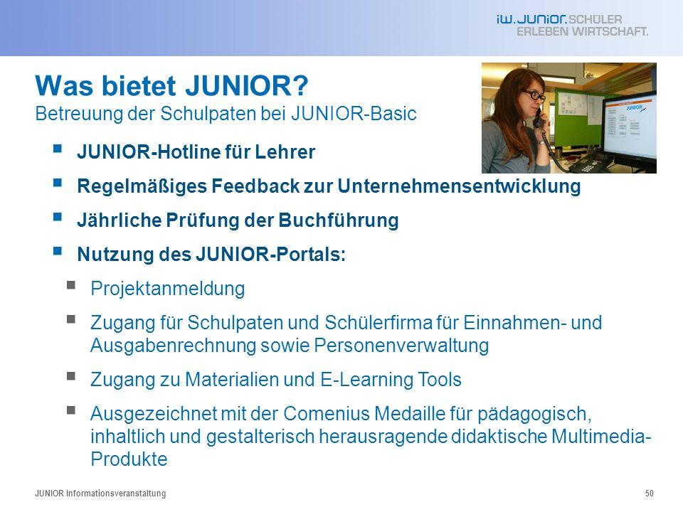 Was bietet JUNIOR Betreuung der Schulpaten bei JUNIOR-Basic