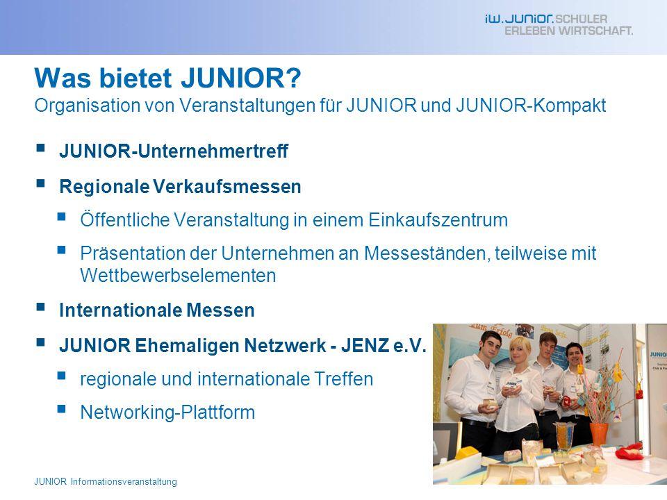 Was bietet JUNIOR Organisation von Veranstaltungen für JUNIOR und JUNIOR-Kompakt