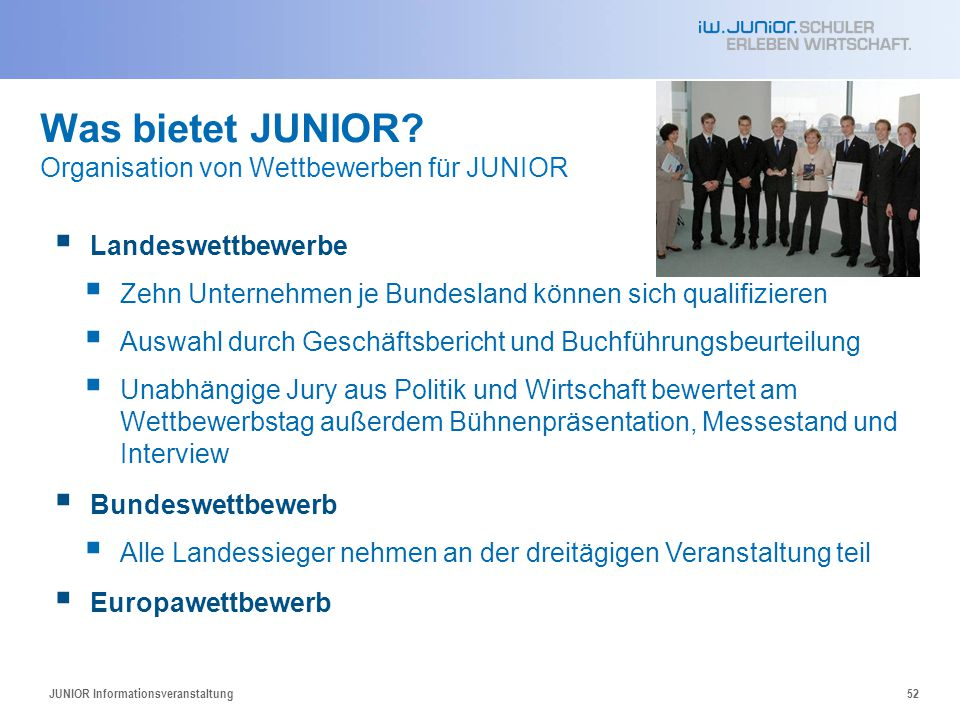 Was bietet JUNIOR Organisation von Wettbewerben für JUNIOR