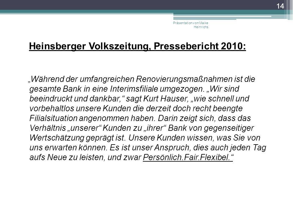 Heinsberger Volkszeitung, Pressebericht 2010: