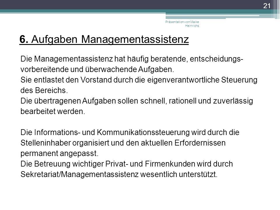 6. Aufgaben Managementassistenz