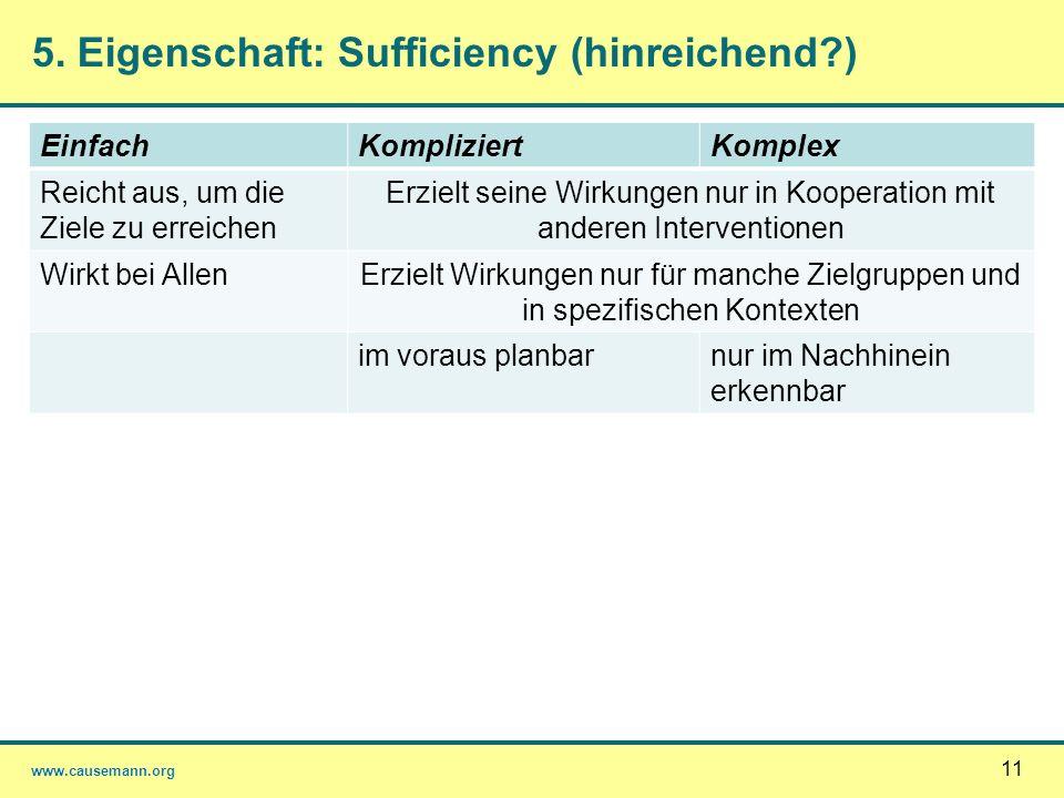 5. Eigenschaft: Sufficiency (hinreichend )