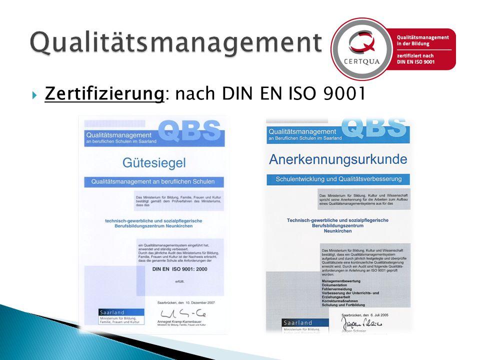 Qualitätsmanagement Zertifizierung: nach DIN EN ISO 9001
