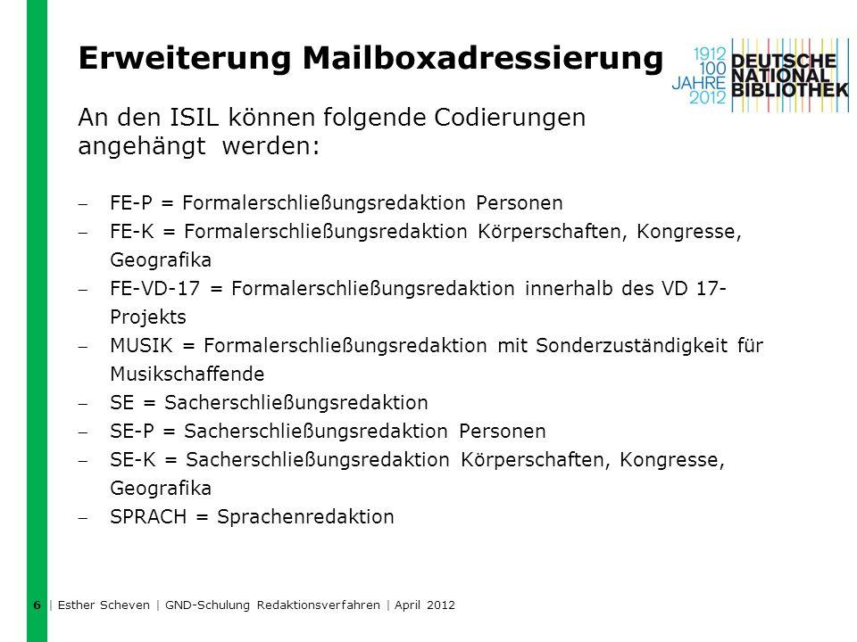 Erweiterung Mailboxadressierung