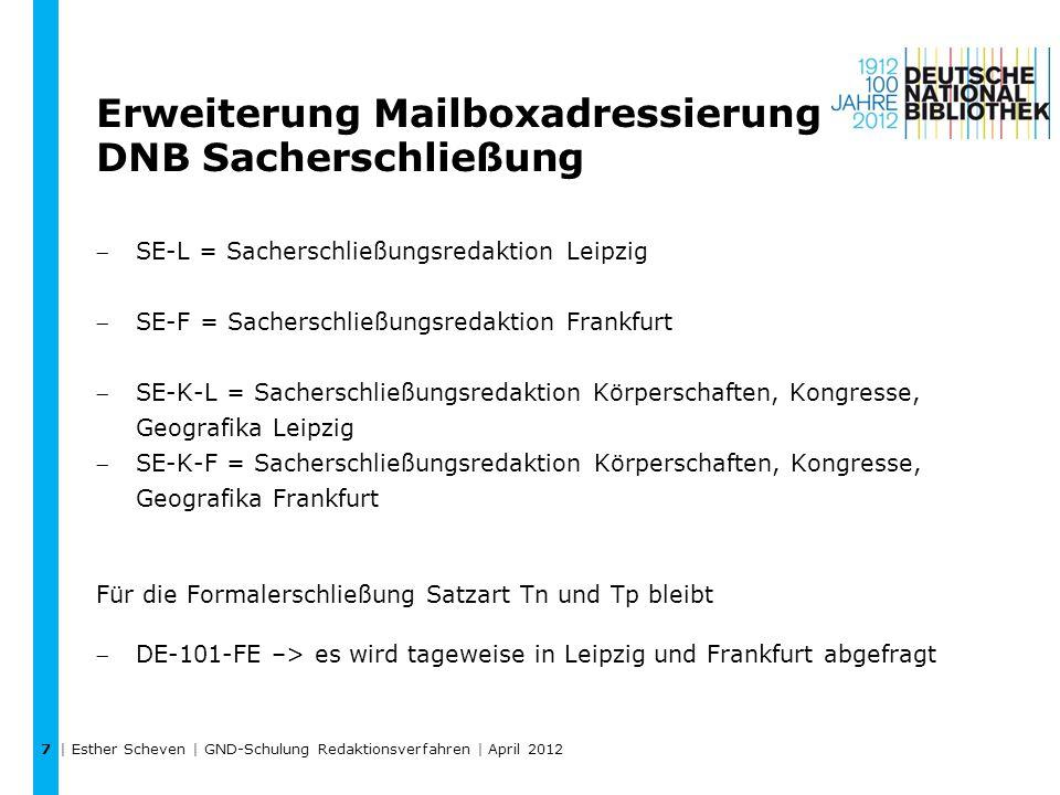 Erweiterung Mailboxadressierung DNB Sacherschließung