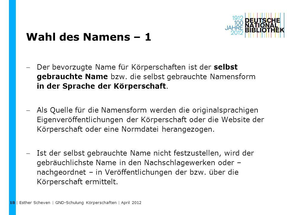 18 Wahl des Namens – 1.