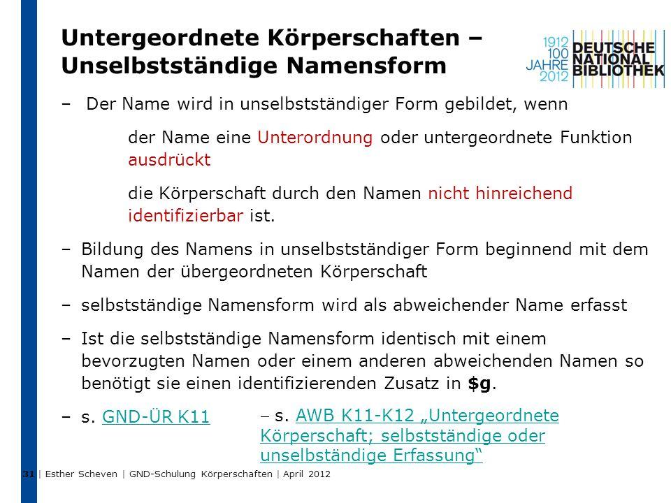 Untergeordnete Körperschaften – Unselbstständige Namensform