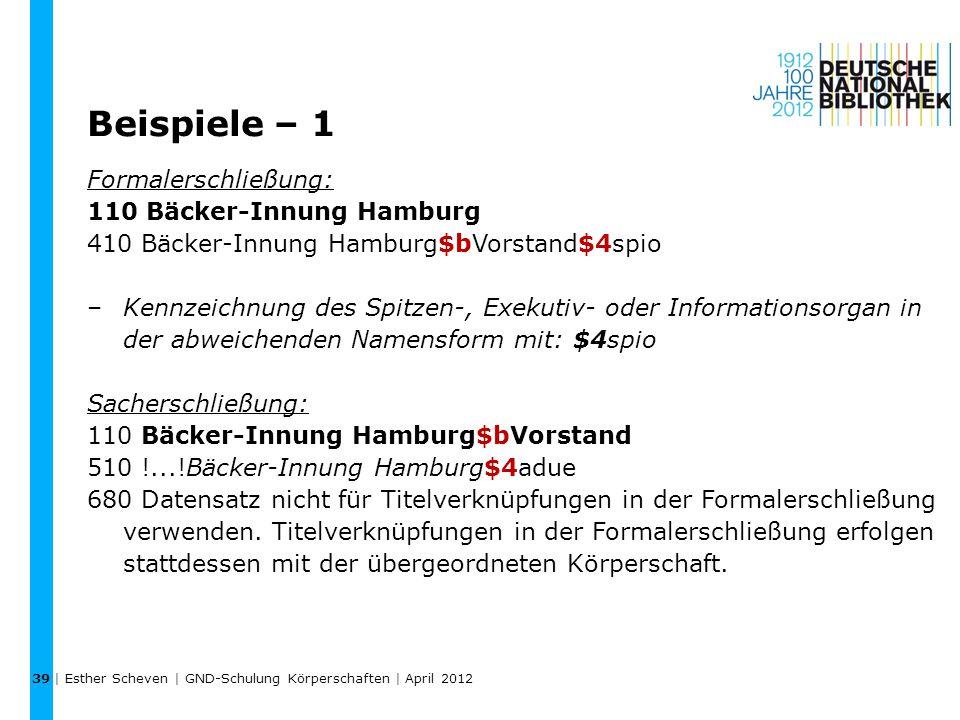 Beispiele – 1 Formalerschließung: 110 Bäcker-Innung Hamburg