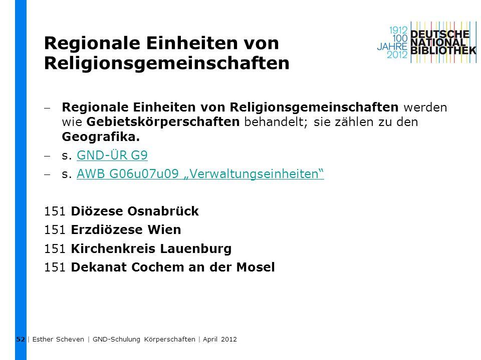 Regionale Einheiten von Religionsgemeinschaften
